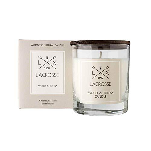 Lacrosse. Holz- und Tonka-Duftkerze. Kerze mit pflanzlichem Wachs und natürlichem Parfüm parfümiert, mit einer geschätzten Dauer von 40 Stunden. Genießen Sie die Aromatherapie in Ihrem Zuhause