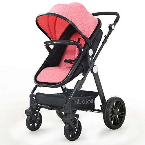 Baby Stroller Newborn Toddler Carriage - Inbojoii Girl Boy Lux Bassinet Strollers Compact Infant Pram All Terrain Rear Facing Stroller Reversible Large Stroller (Pink)