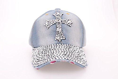 Cross Sparkle Bling Baseball Hat Cap for Women - Rhinestone Adjustable Womens Cap Shipped from USA