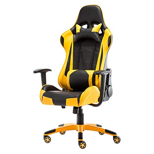 CAIS Sessel Premium Bürostuhl Racing Gaming Stuhl Büro Task Desk Executive Liegender Computerempfang Pu Leder Ergonomisch einstellbarer Neigungswinkel 170 °, maximale Belastung 260 kg, gelb