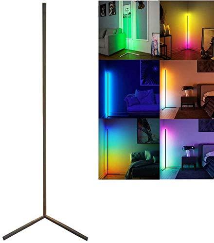 WFWPY 20W LED Stehlampe Dimmbar mit Fernbedienung Stehleuchte Leselicht für Wohnzimmer Schlafzimmer Farbwechsel Lichtsaeule RGB Farbtemperaturen und Helligkeit Stufenlos,schwarz