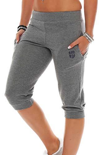 Gennadi Hoppe Damen 3/4 Trainingshose Sporthose Kurze Hose Sport Fitness Jogginghose Shorts Barmuda, dunkelgrau,XL