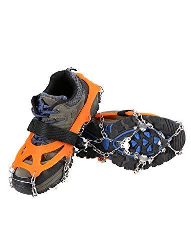 Lixada Crampones 21 Dientes Cubierta de Zapatos Antideslizante con Bolsa de Almacenamiento para Caminar Senderismo Pesca… 1