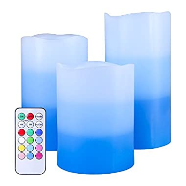 Set of 3 Flameless LED Candles Color Changing Flicker,Light Mode Option Tri-Layer LED Pillar Candle with Timer and 18-Key Remote for for Wedding,Votive,Yoga and Decoration