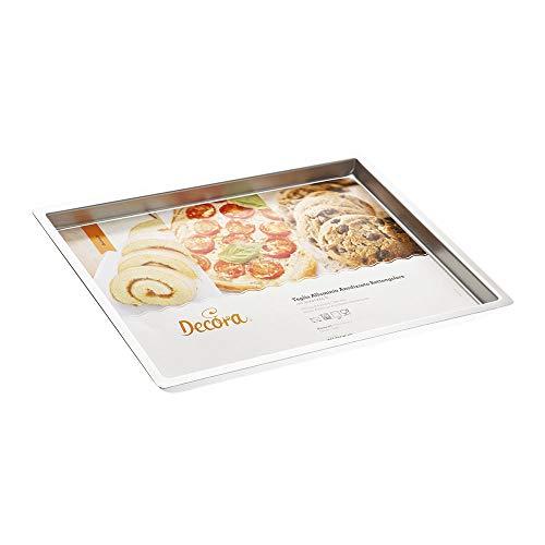 Decora 0062648 Teglia Professionale Rettangolare, Alluminio Anodizzato, Argento, 30 x 40 x 2.5 cm