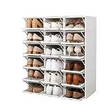 ZINNZ SELECTED Schuhbox,stapelbarer Schuhorganizer, Kunststoffbox mit durchsichtiger Tür, Schuhaufbewahrung, einfache Montage, Schiebemechanismus (18 Boxen)