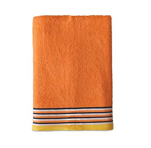 Exotic Cotton Toalla de Ducha de 70 cm x 140 cm - Toalla de Baño Algodón 100% de Rizo Americano - 1 Toalla de Ducha con Diseño Bordado - Tacto Suave y sin Pérdida de Color - Toalla Naranja