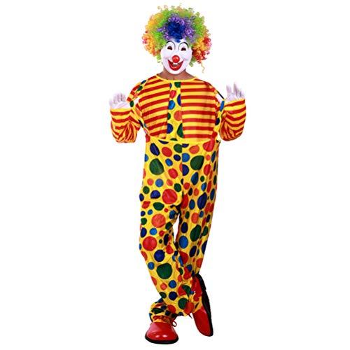 FUNZZY Fantasias de palhaço fantasia de coringa adulto cosplay festa vestido de palhaço roupa adequada para fantasia de carnaval parque de diversões (tamanho livre, sem bonés)