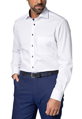 ETERNA Langarm Hemd COMFORT FIT Pinpoint unifarben mit Classic Kent Kragen- Gr. 44 EU, Weiß