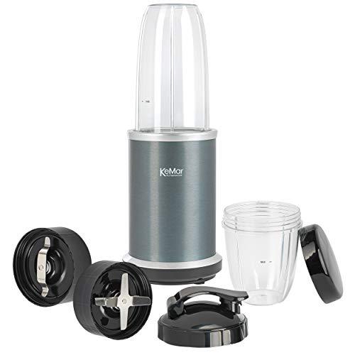 KeMar Kitchenware KSB-100G Standmixer | Anthrazit | 2 Behälter | 2 Klingen | 2 Deckel | BPA-frei | Eloxierte Oberfläche | 1.000 W