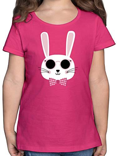 Ostern Kinder - Osterhase Sonnenbrille Rosa - 116 (5/6 Jahre) - Fuchsia - osterhasen Shirt mädchen - F131K - Mädchen Kinder T-Shirt