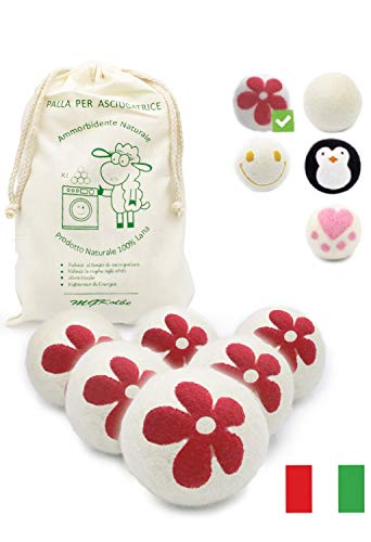 MGKolbe® Trocknerbälle für Wäschetrockner - 6 XXL Extragroße Filzbälle aus Schafwolle, der natürliche Weichspüler. Ideal für Daunenjacken. Dryer Balls Trocknerkugeln für Daunen (Blumenball)