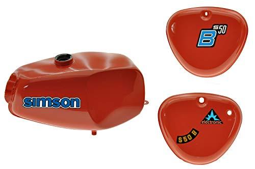 Büffeltank Set, Hoch Tank für Simson S50 S51, Rot, innen versiegelt