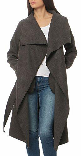 Malito Damen Mantel lang mit Wasserfall-Schnitt | Trenchcoat mit Gürtel | weicher Dufflecoat | Parka - Jacke 3040 (dunkelgrau)