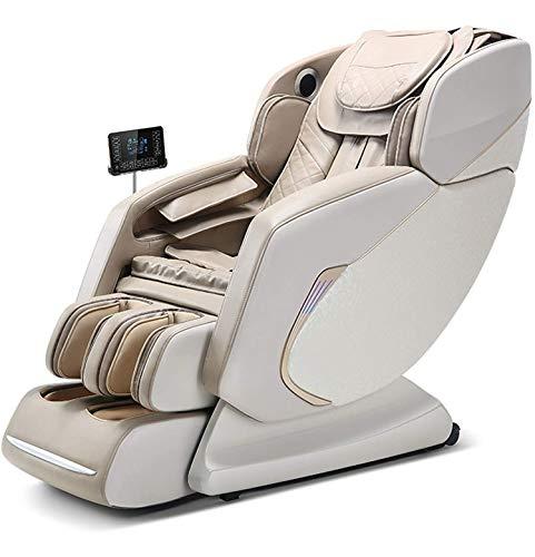lcc Cuerpo Completo Silla de Masaje Shiatsu, 4D SL Track Thai Thai Thising Zero Gravity Luxury Relax Sillchair con Sistema de Calor Bluetooth,Beige