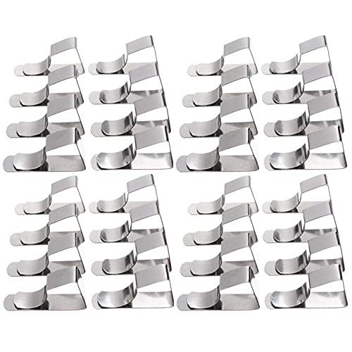 KUANDARGG 32 Piezas De Pinzas De Mantel Soporte De Tela De Mesa Abrazaderas De Cubierta De Mesa De Acero Inoxidable para El Hogar Cocina Deshierbe Picnic BBQ Patio Fiesta