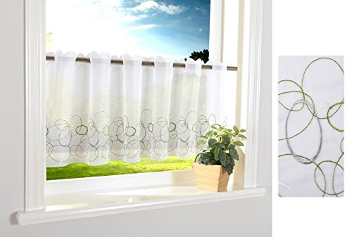 Aura Scheibengardine Durchzuglöcher für Gardinenstangen Scheibe Gardine Küche Grün HxB 40x120 cm, 112240