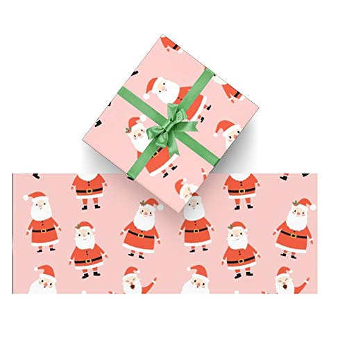 CUXWEOT Gift Wrapping Paper Cute Santa Claus Christmas Pink for Christmas,Birthday,Holiday,Wedding,Gifts Packing - 3Rolls - 58 x 23inch Per Roll