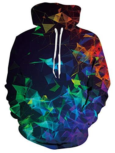 AIDEAONE Männer Frauen Hoodies 3D Drucken Fleece Rainbow Unicorn Pullover Sweatshirt mit Kapuze