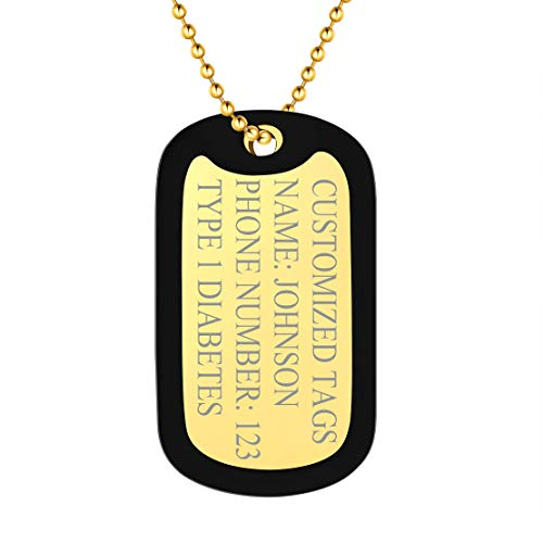 FindChic Military Dog Tags Personalized for Men with Silencer 18K Gold Plated Medical Alert Pendant Customized US Army Tags Engraved Necklace, (Send Medical Condition ID Wallet Card)