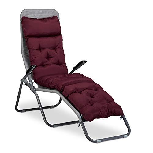 Relaxdays Matelas coussin de chaise longue de jardin fauteuil terrasse balcon plage HxlxP: 180 x 44 x 11 cm, rouge