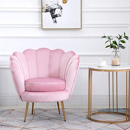 Cherry Tree Furniture HEPBURN Scalloped Velvet Armchair Tub Chair (Pink)