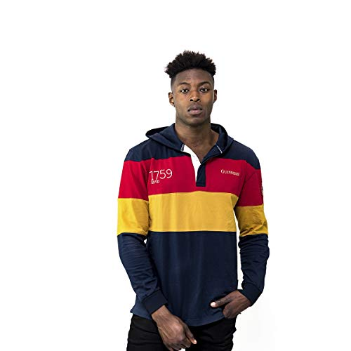 GUINNESS Navy Panelled Hooded Rugby Jersey,Navy / Red / Yellow,XX-Large