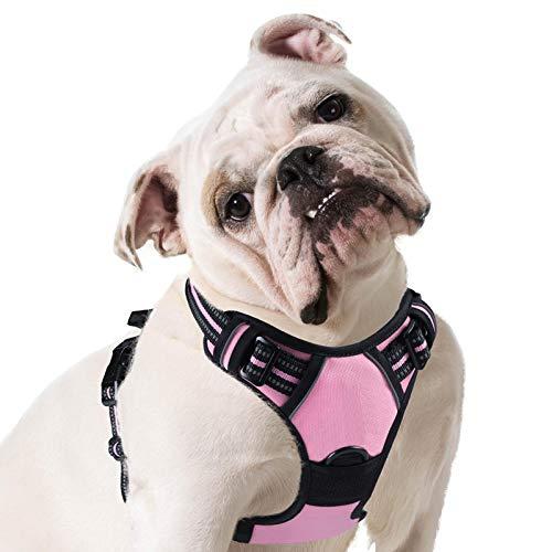 Eagloo Arnes de Perro Antitirones Cómodo Chaleco Ajustable Correa al Cuello y Pecho para Perros Grande Material Duradero Transpirable con Cinta Reflectante Adaptarse a Ejercer Externo L/Rosa
