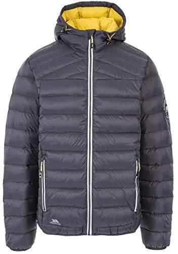 Trespass Herren Whitman II Warme Leichte Daunenjacke Mit Integrierter Kapuze, Dark Grey, XL