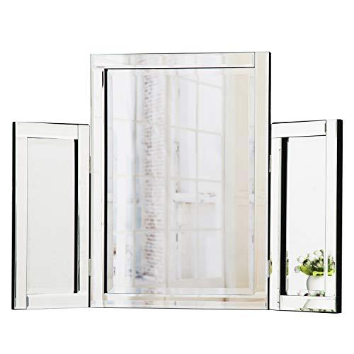 RICHTOP Schminktisch Spiegel Dreifach freistehende Tisch Schminkspiegel für Schlafzimmer Schminkraum 78 x 54 cm