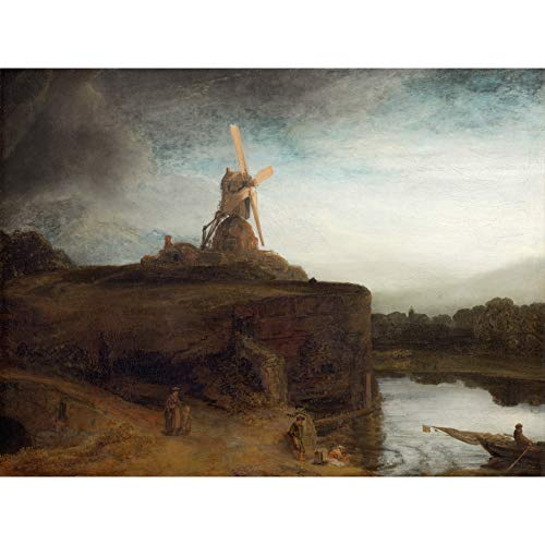 Rembrandt De Molen Barok Oude Meester Grote Ingelijste Art Print