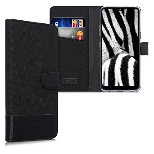 kwmobile Hülle kompatibel mit LG K41S - Kunstleder Wallet Case mit Kartenfächern Stand in Anthrazit Schwarz