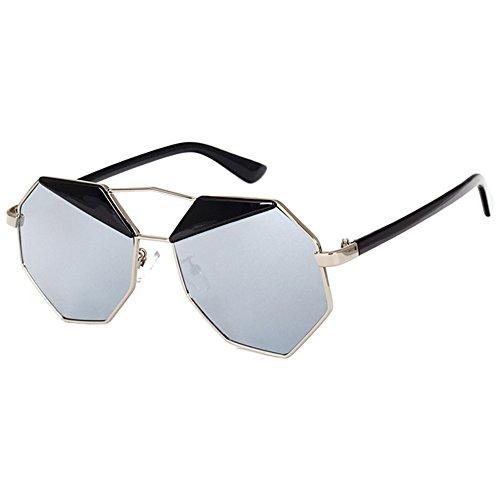 SODIAL(R) Spiegel Design Achteck Sonnenbrille (Weisser Quecksilber)