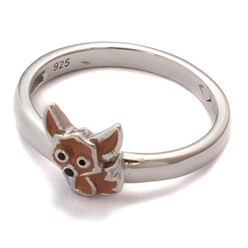 Kinderring Fennek niedlich, 925 Sterling Silber, Kinder Ring nickelfrei, Kinderschmuck Zoo Fuchs, Kinder Schmuck Tier Motiv