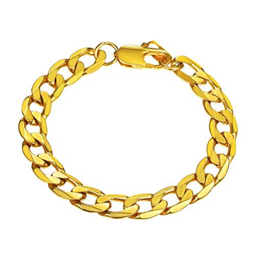 PROSTEEL Herren Armband Edelstahl Panzerkette Armband 9mm schwer Glieder Link Kettenarmband Armkette Armreif, Länge 21cm, Gold