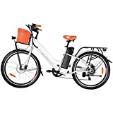 ANCHEER 26'' Electric Bicycle, Retro City Electric Bike, Low frame e-bike with 36V/12.5 Ah Lithium Battery, Step Through Commuter Ebike with Practical Basket for Woman Man
