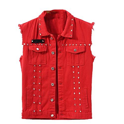 Otoño Hombres Chaleco Vintage Denim Jeans Chaleco Masculino Rojo Sin Mangas Chaquetas Hombres Retor Agujero Jeans Chalecos Ropa