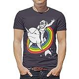 O5KFD&8 Camiseta para hombre de la NASA Rainbow Uniwhale Mode - Divertido y dulce estampado impreso, transpirable y cómodo, camiseta de manga corta blanco XXL