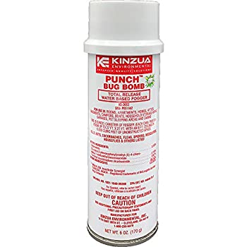 Kinzua Environmental  6 oz  Punch Bug Bomb | 100% Kills Mosquitoes Cockroaches Fleas Ants Houseflies & More | Commercial-Grade Fogger | Easy-to-Use | Non-Staining Water-Base Formula  6 oz