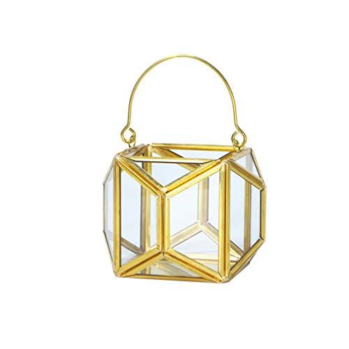 ZHCSS Metal Octagonal Candle Holder, Geometric Design Dedicated Tea Light, Iron Hollow Tea Candle Holder for Retro Wedding Home Decoration,Metallic