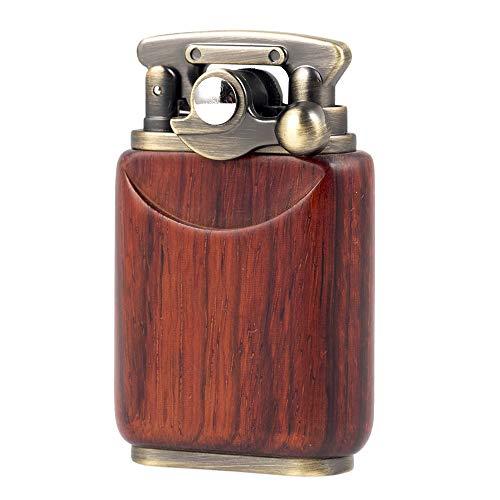 Rosewood Benzinöl-Feuerzeug, Antik-Optik, weiche Flamme, Wipparm