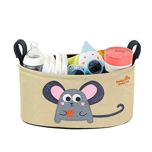 MAUSITO | Kinderwagen Organizer | Universal Kinderwagentasche | 2 Getränkehalter | Regenschutz | Loving Mouse | Süßes Design | Buggy Organizer für Babysachen | Klettverschluss | Braun, Rosa und Grau