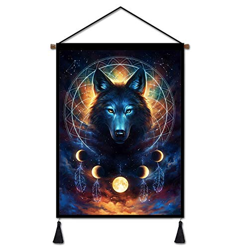 Premium Space Tapestry Wolf Art Poster Dreamcatcher Wall Decor, Blue Galaxy Moon Wall Hanging for Bedroom Living Room Dorm Decorations Ready to Hang - 18X26 inches