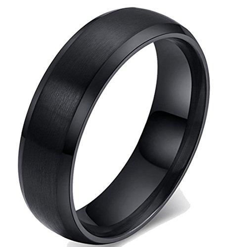 Ddolaa 6mm nero in acciaio INOX bordo smussato piatto per coppia anello, Acciaio inossidabile, 7