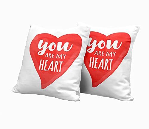SAIAOS Copri Cuscini per Divano,Carta di San Valentino con scritte disegnate a mano sei il mio cuore e illustrazione romantica a forma di cuore dell'acquerello,Pezzi Copricuscini Divano Decorativi per