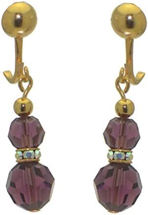 AMUNET gold plated amethyst purple crystal clip on earrings