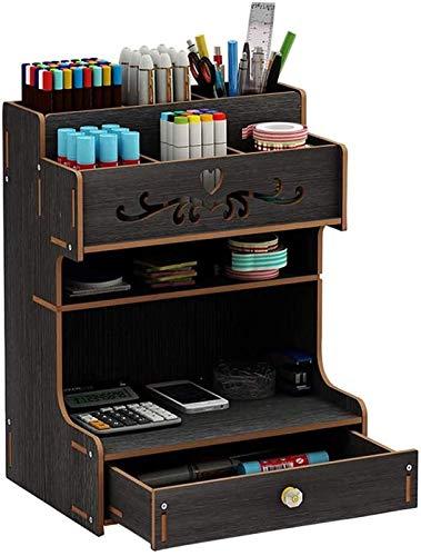 NSYW Organizador de Escritorio de Madera, Escritorio ordenado por Adelantado para el hogar Cajón de Gran Capacidad de papelería Caja de Almacenamiento de Escritorio (Color : Black)