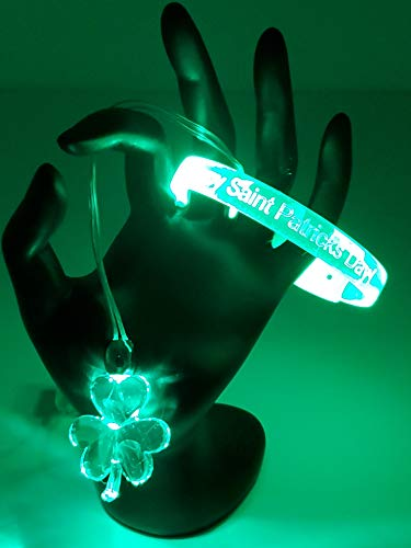 Irish Shamrock Flashing LED Light Up Motion Activated Necklace & Bracelet