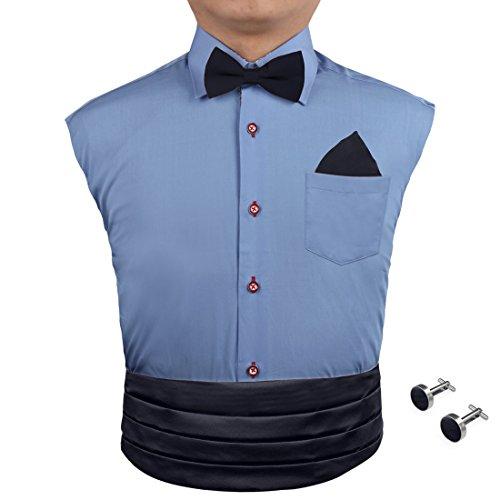 Black Bow Tie Hanky Cufflinks Set Discount Gift Pre-tied Tie and Cummerbund with Box Cm1011  Black
