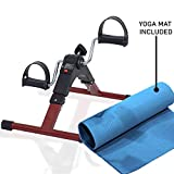 Lifelong LLF63 Fit Pro Foot Pedal Exerciser Machine, Foldable Portable Foot, Hand, Arm, Leg Exercise Pedaling Machine - Folding Mini Stationary Bike Pedaler, Fitness Rehab Gym Equipment for Seniors, Elderly (Yoga Mat Included)